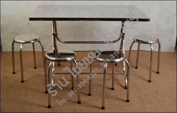 โต๊ะ และ เก้าอี้ สแตนเลส ภาพด้านหน้า